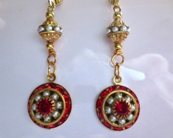Edwardian red crystal and pearl earrings Art Deco earrings Art Nouveau earrings vintage wedding earrings Victorian earrings
