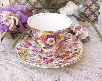 """Beautiful Vintage """"DuBarry"""" Chintz Teacup and Saucer by James Kent"""