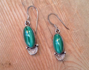 Navajo malachite Sterling silver handstamped earrings