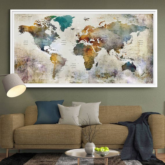 large watercolor world map print world map wall art detailed. Black Bedroom Furniture Sets. Home Design Ideas