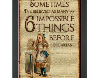 Alice in wonderland 6 impossible things before breakfast Dictionary Art Print