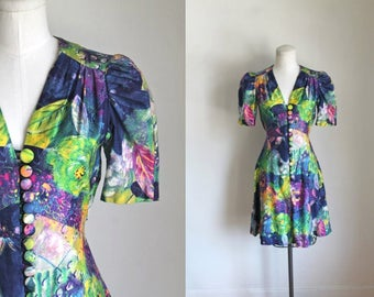 vintage 1970s dress - MONET rainbow mini babydoll dress / S