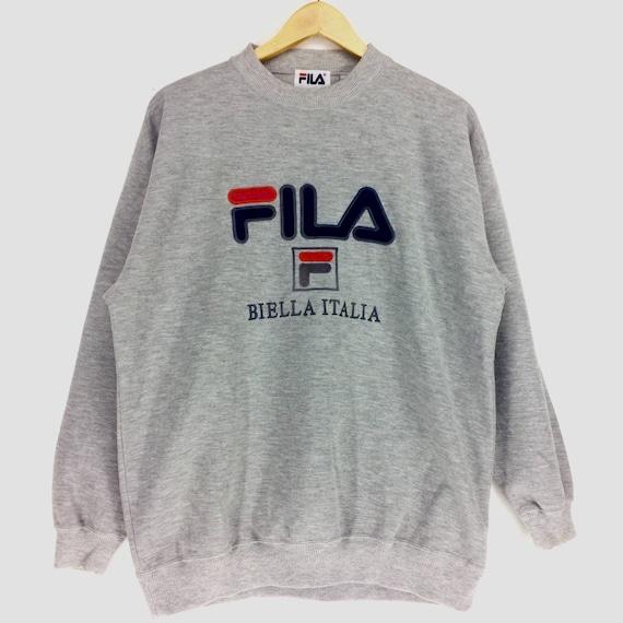 Vintage Fila Biella Italia Big Logo Embroidery Logo Large Size Sweatshirt Retro Hip Hop Rap Tees Fashion Swag y6dJf2