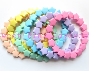 Colorful fairy kei pastel star bracelets, kawaii bracelet, cute jewelry,you choose color,pink,purple,blue,green,yellow,peach,gifts for teens