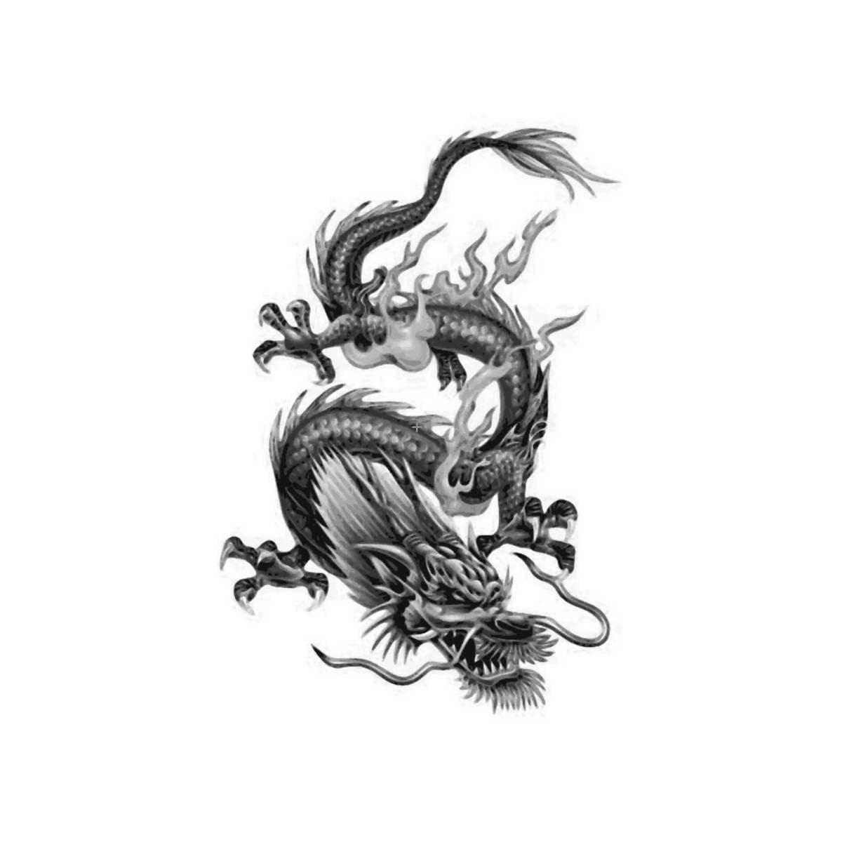 dragon chinois tatouages temporaires faux gras corps art. Black Bedroom Furniture Sets. Home Design Ideas