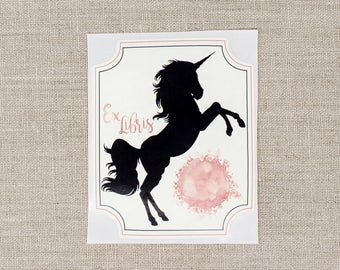 unicorn bookplates - pink unicorn book plates - bookplate stickers - kids bookplates - personalized gift - custom book plate - bookworm gift