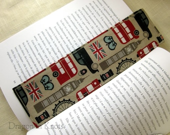 London Fabric Bookmark - Big Ben, double decker bus, union jack, British crown, travel in UK reading accessory, page marker, united kingdom