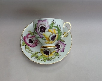Stanley Tea Cup And Saucer Handpainted Anemone