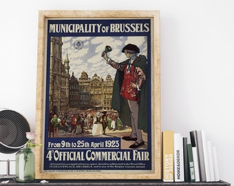 Municipality of Brussels 1923 4th Official Commercial Fair by Toussaint Vintage Belgium Advertising Art Print