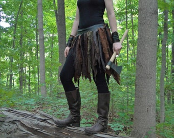 Linen Wrap Skirt, Tribal Fantasy Renaissance Style - Women's Adjustable Fit, Choose Your Size