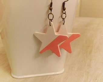 Star Wood Earrings available pink and white