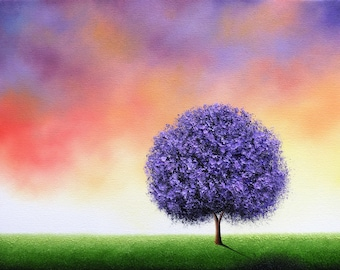 Purple Tree Print, LIMITED Edition Art Print, Abstract Contemporary Art, Gift Idea, Landscape Print, Multicolored Whimsical Art Giclee Print