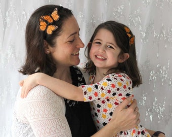 Orange Monarch Butterfly Headbands - mommy and me, mother's day