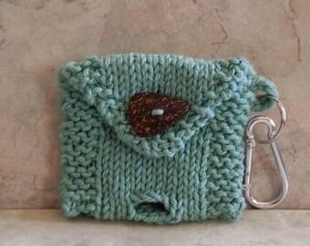 2 Roll Dog Poop Bag Dispenser Knit Cotton Poop Bag Holder Mint Color Handknit Cotton Knit Fabric Coconut Button Carabiner Keyring