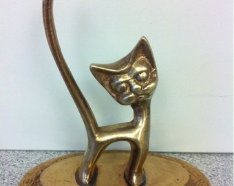 Solid Brass Cat Ring Holder Hand Made in India