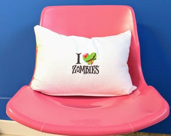 "I love zombies pillow cover. Fits a 12"" x 18"" pillow insert."