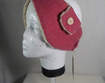 Tweed ear warmers with stag horn buttons