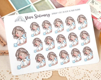 Kawaii Girl Coffee Take Away Decorative Stickers ~ Valerie ~ For your Life Planner, Diary, Journal, Scrapbook...