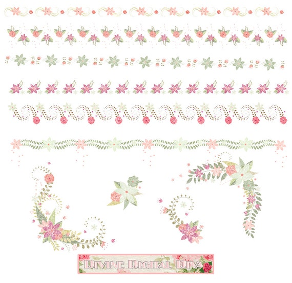 Watercolor Floral Borders Corners Elements