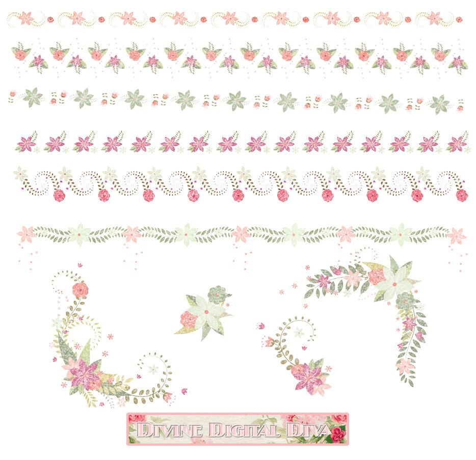 Watercolor Floral Borders Corners Elements Transparent