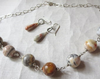 Crazy Lace Agate and Sterling Silver Necklace and Earring Set