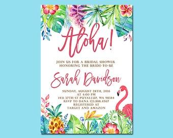 Aloha Bridal Shower Invitation, Tropical Pineapple Flamingo Bridal Shower Invitation, Luau Invitation, Hawaiian Invitation, Printable File