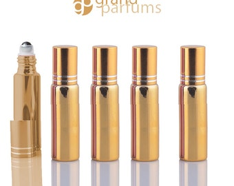 5 UPSCALE GOLD 10ml Glass Essential Oil Glass Roll On Bottles Stainless Steel Roller (1/3 Oz) Fabulous Metallic Colors UV Coating  10 ml