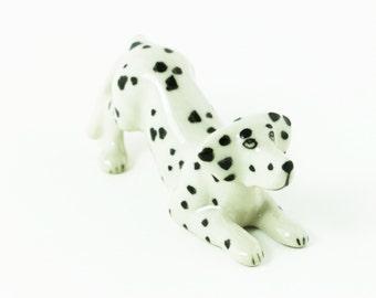 Miniature Ceramic Dalmatian Dog Animal - Cute Dog Figurine Statue Decoration Hand Painted