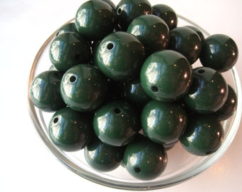 Chunky Necklace Beads, 10 pcs, 20mm Evergreen Green Bubblegum Beads, Gumball Beads, Acrylic Bead, Plastic Bead, Round Bead