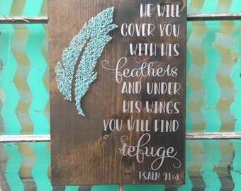 Psalm 91 4 Sign, Feather String Art, Under His Sings Sign, You Will Find Refuge, Scripture Sign, Wood Feather Sign, Custom Housewarming Gift
