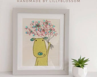 Puppy Love framed textile art by Lillyblossom. Handmade embroidery with beading and French knots handstitched bouquet dog art