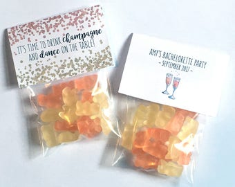 Champagne Gummy Bears with Favor Tag | Bachelorette Party Treat Bag | Drink Champagne & Dance On Table | Bridal Shower, Bday Party, Cheers!