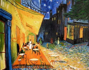A2/A3 Digital Canvas Prints Cafe Terrace Famous Painting