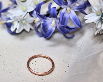 Women's Slim Gold Wedding Band, Comfort Fit 2mm Recycled 14k Yellow Gold or Rose Gold Brushed Band Gold Wedding Ring - Made in Your Size