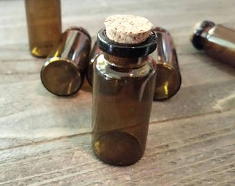 Amber Glass Bottles Glass Vials Brown Glass Vial Corked Vials Apothecary Vials Potion Vials Halloween Vials 6 pieces