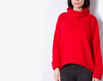 Vivid red sweatshirt /\ Cowl neck top /\ Loose fit jumper /\ Plain red pullover