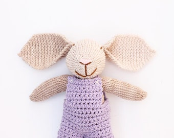 Brown knitted bunny, crochet bunny toy, baby girl gift, easter bunny, soft toys, knitted toys, toy bunny, handmade toy, baby gift