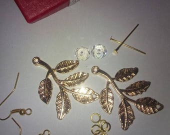 Kit create your pair of earrings, metal gold and Crystal