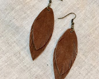 Recycled Leather Feather Earrings -Brown Suede