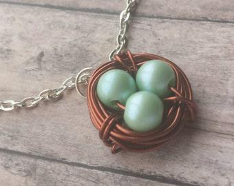 grandma necklace, Copper Bird nest, copper nest necklace, mothers necklace, gift mom, bird nest necklace, gift for mom, bird nest pendant,