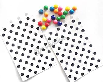 Polka Dot Favor Bag   BLACK Favor Paper Bags (5x7)  
