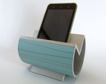 Porte smartphone design en carton recyclé bleu avec lignes argentées - Modèle unique
