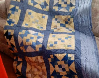 Vintage Inspired 80 x 80 inch blue and yellow throw