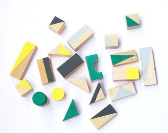 24 wooden blocks packed in cotton bag - Wooden toys - Wooden toys for toddler - Geometric blocks - Gift for kids - Building blocks