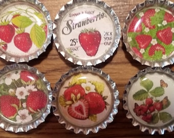 Six Vintage Strawberries on Silver Bottle Cap Magnets