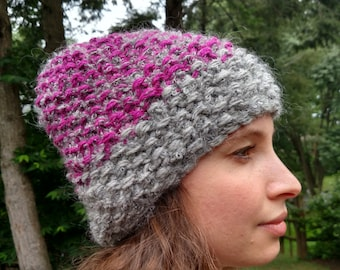 100% Wool and Mohair Hand Knitted Hat