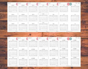 BUJO Calendar Planner Stickers, Bullet Journal, Doodle Planner Stickers, Monthly Calendars, Mini Calendars (B008)