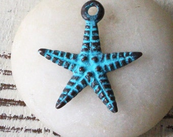 Mykonos Green Patina Starfish Charm - Jewelry Making Supply -  Beach Theme Jewelry Findings And Parts - Choose Amount