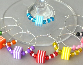 8 rainbow wine charms, striped multicolor cubes wine glass charms, dining & entertainment barware, LGBTQ gift, Hostess, bridal shower gift