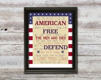 Proud to be an American Counted Cross Stitch Pattern - Fourth of July Americana Cross Stitch - Instant Download, PDF pattern